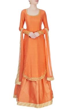 Orange kurta with lehenga & dupatta