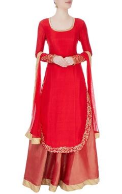Red kurta with lehenga & dupatta