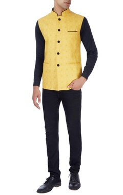 Navy blue & yellow bandhgala jacket