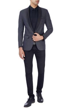 Navy blue tuxedo suit in polka dot print
