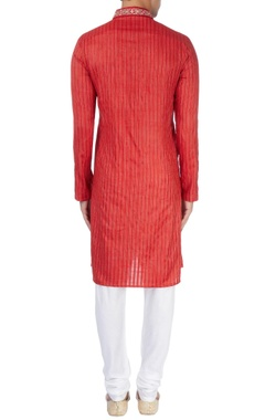 Red kurta with embroidery details