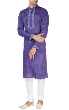 Blue kurta with embroidery details