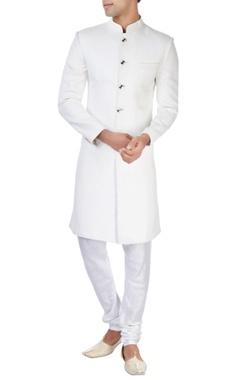 White ackhan style kurta and pyjamas