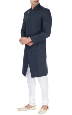 Black ackhan style kurta and pyjamas