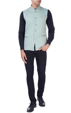 Light blue geometric print nehru jacket