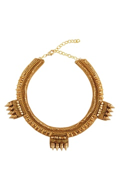 Gold plated necklace with beads & spike details