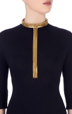 gold plated choker with coin motifs