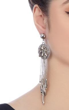 Silver plated earrings with long drape detail