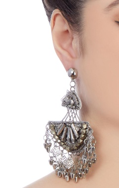 Silver plated earrings with dangling accents