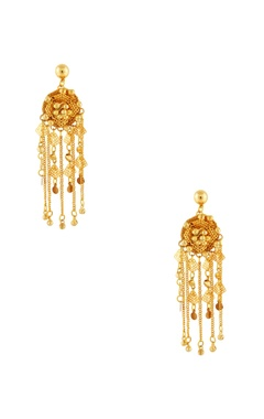 Gold plated earrings with coin & bead accents