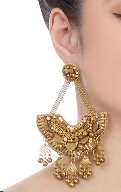 Gold plated long earrings with beads