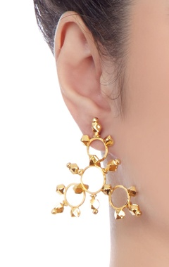 Gold plated triangular shape earrings