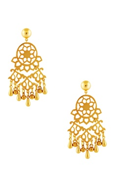 gold plated earrings with bead accents