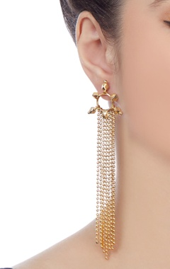 Gold plated earrings with long chain accents