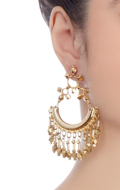 Gold plated long earrings with chain accents