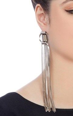 Silver plated earrings with chain accents