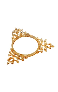 Gold plated triangular motif bangle