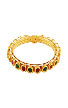 Gold bangle with purple & teal stones