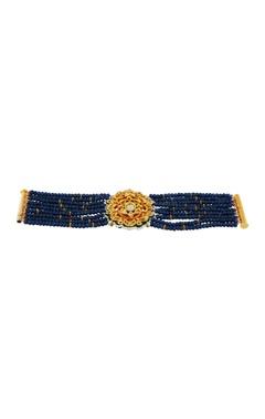Navy blue bracelet with studded flower