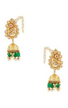 Gold studded jhumka earrings