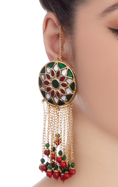 Green meenakari work drop earrings