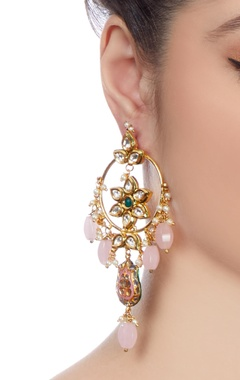 Gold studded drop earrings with pink stones