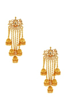 Gold plated kundan dangler earrings
