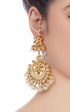 Gold plated kundan drop earrings