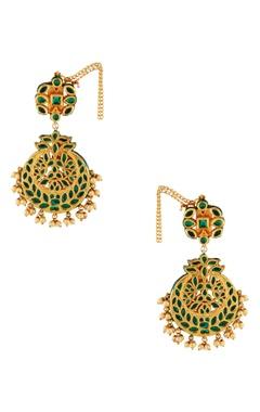 Gold & green studded earrings