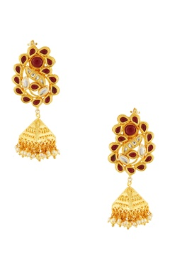 Gold & red studded jhumkas