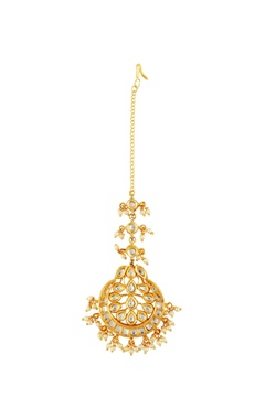 Gold plated kundan studded maangtika