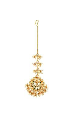 Gold plated studded maangtika featuring a green enamel work