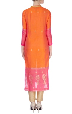Pink & Orange kurta with gold leaf motif