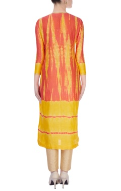 Yellow & red salwar kurta with floral embroidery
