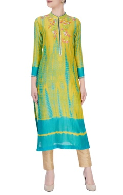 Yellow & sky blue kurta with floral embroidery