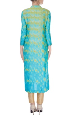 Yellow & mint green kurta with floral embroidery