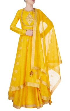 Yellow anarkali suit in ancient zari goldwork