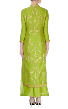 Green anarkali suit in ancient zari goldwork