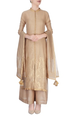 Beige suit in ancient zari goldwork