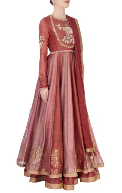 Brown anarkali suit in flroal gold threadwork