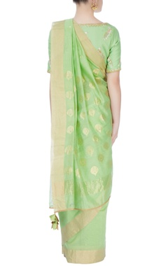 Green sari & peacock print blouse
