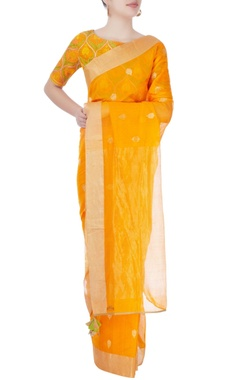 Orange printed sari with blouse