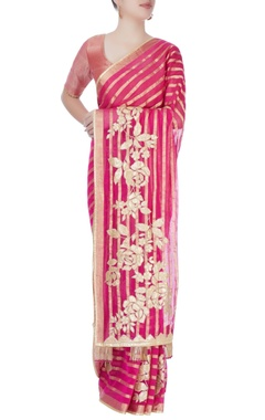 Pink printed sari with blouse