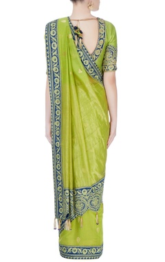 Green & blue ethnic patterned sari