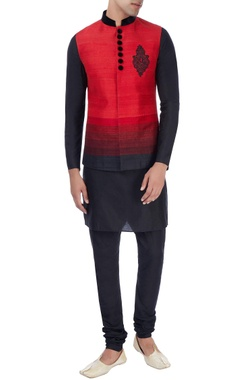 Manish Nagdeo - Men Red & black nehru jacket with kurta & trousers