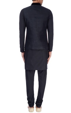 Red & black nehru jacket with kurta & trousers
