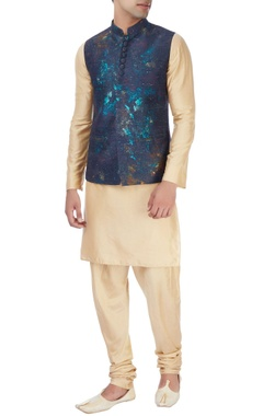 Manish Nagdeo - Men Blue nehru jacket & white pyjamas