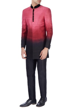 Manish Nagdeo - Men Pink ombre sherwani with black trousers