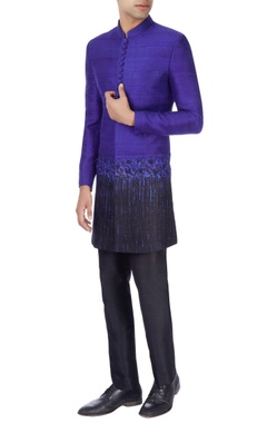 Manish Nagdeo - Men Royal blue & black sherwani with trousers