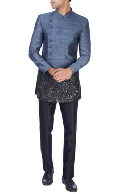 Manish Nagdeo - Men Blue & black sherwani with trousers